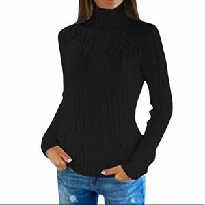Pink Queen Black Cable Knit Turtleneck Sweater